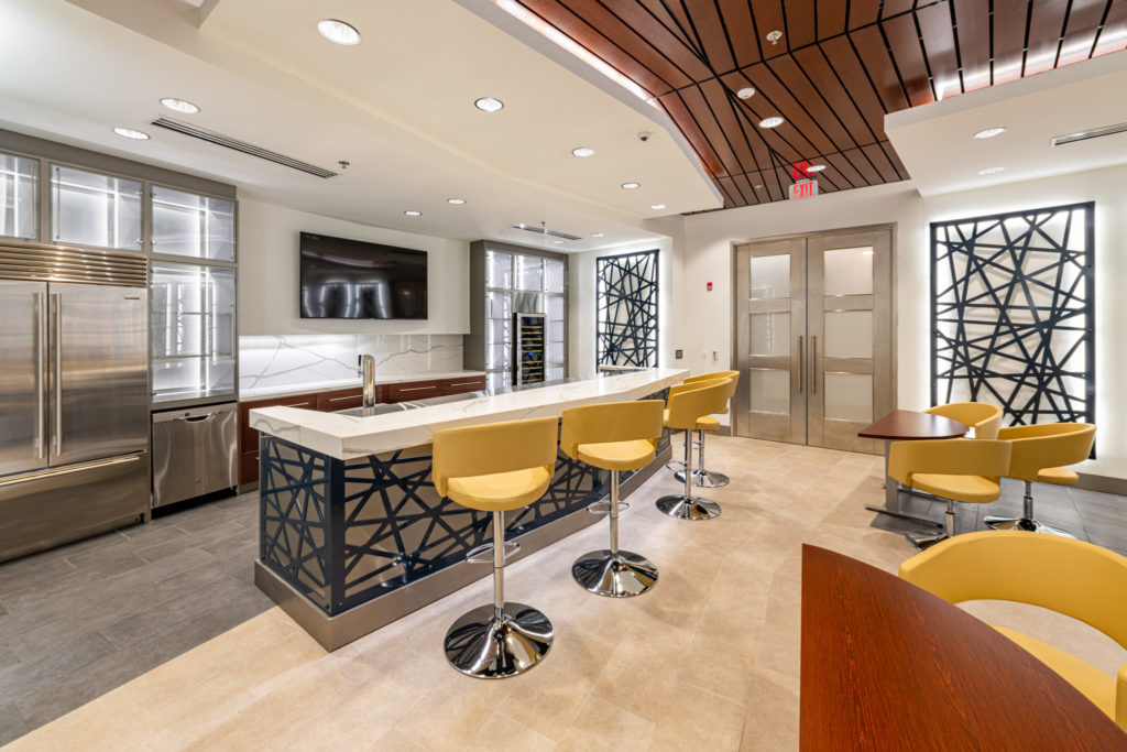 Barstools in corporate space