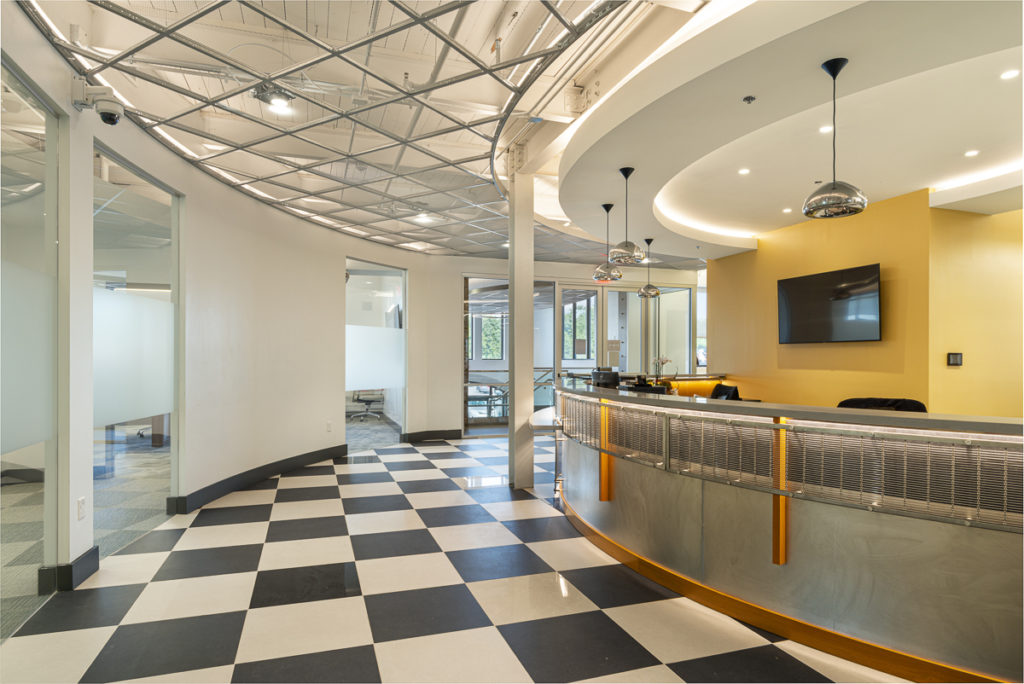 Interior building with checkerboard floors